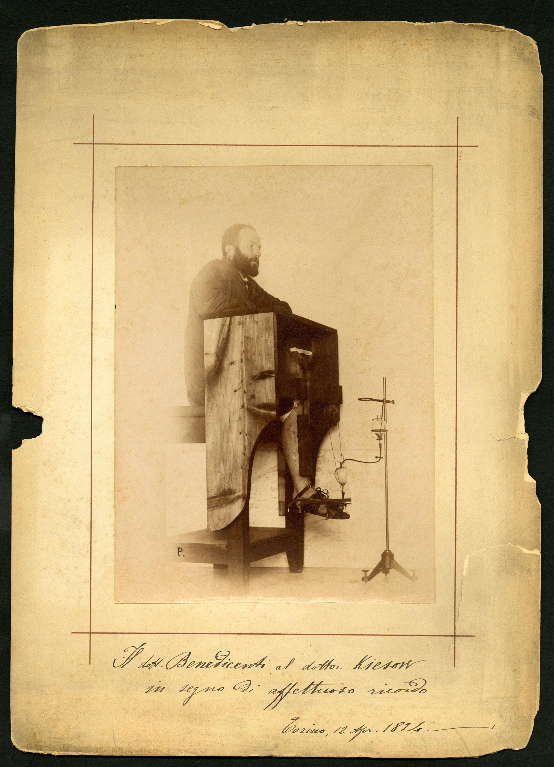 Fotografia del dottor Alberico Benedicenti, collaboratore di Angelo Mosso, 1894