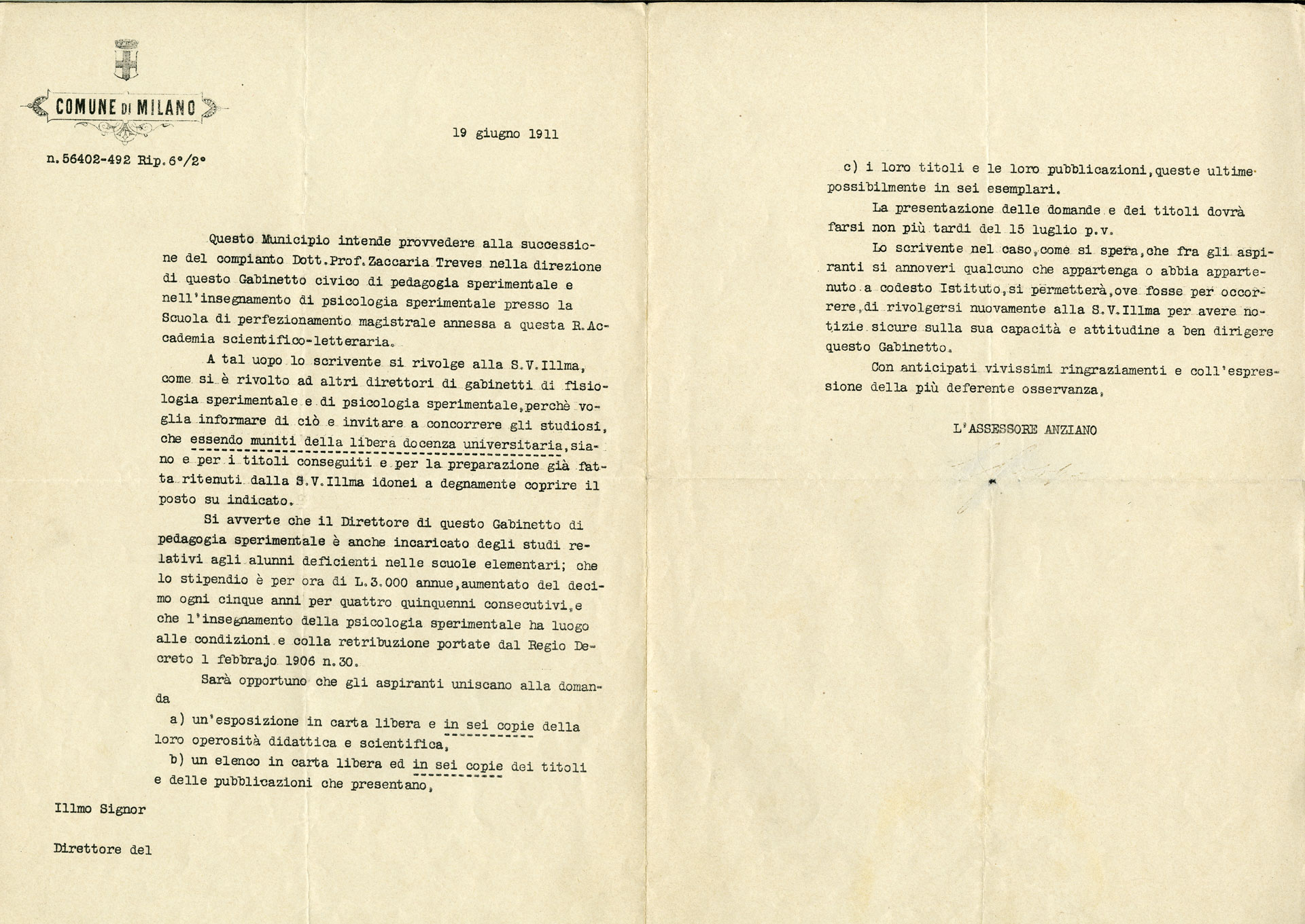 Avviso di concorso indetto dal Comune di Milano per la successione di Zaccaria Treves