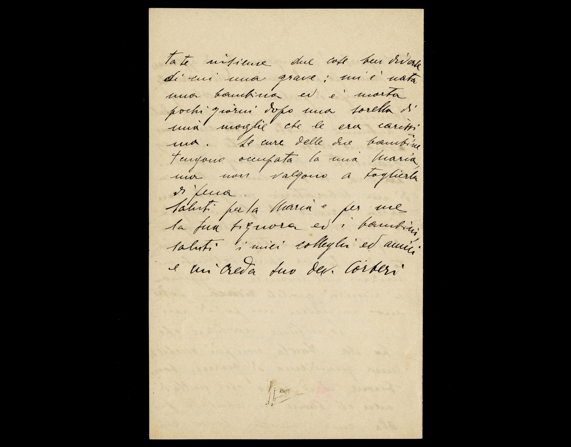 Lettera di Giuseppe Corberi a Giulio Cesare Ferrari