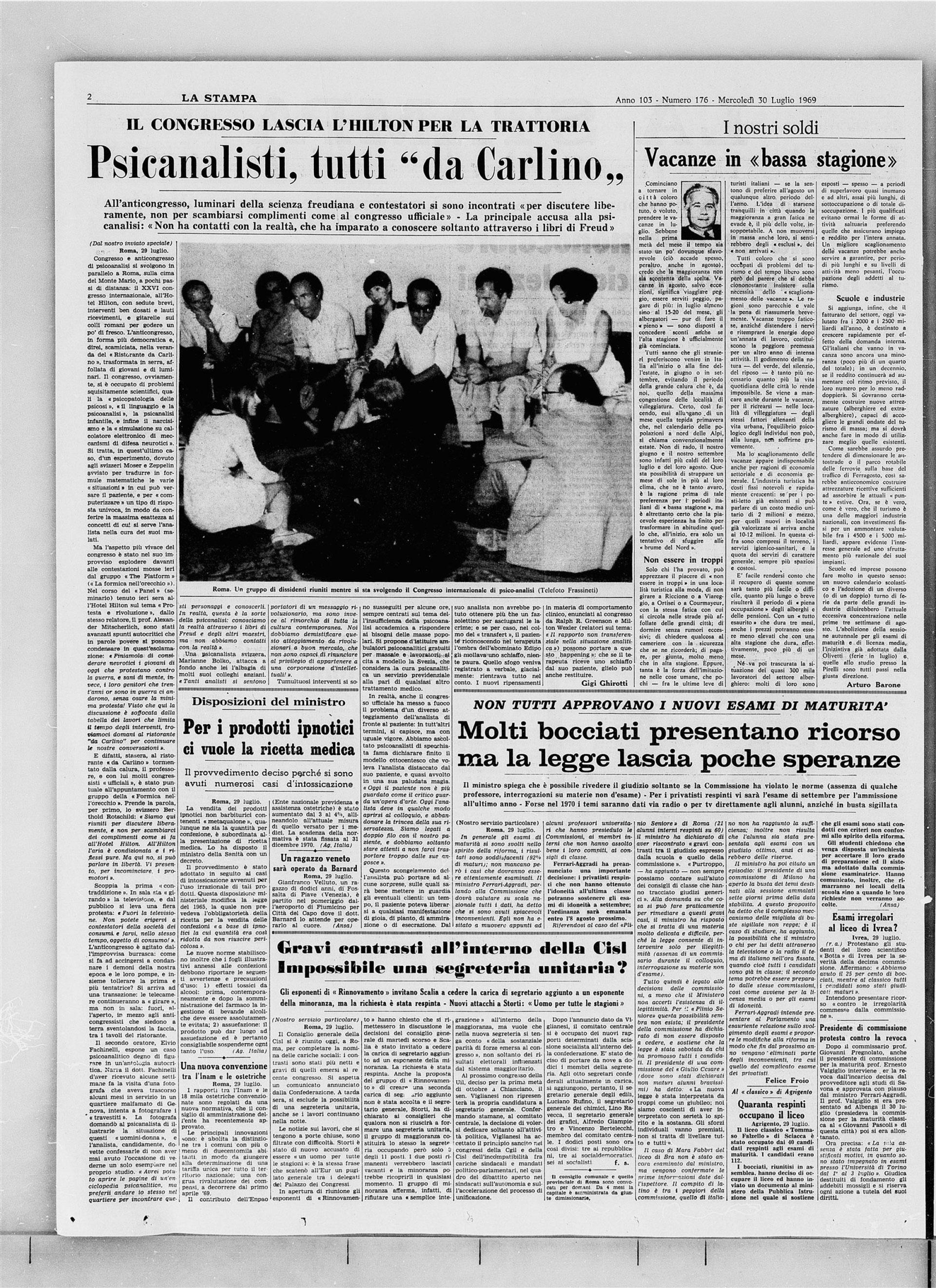"""Psicoanalisti, tutti """"da Carlino"""", """"La Stampa"""" - 30 luglio 1969"""