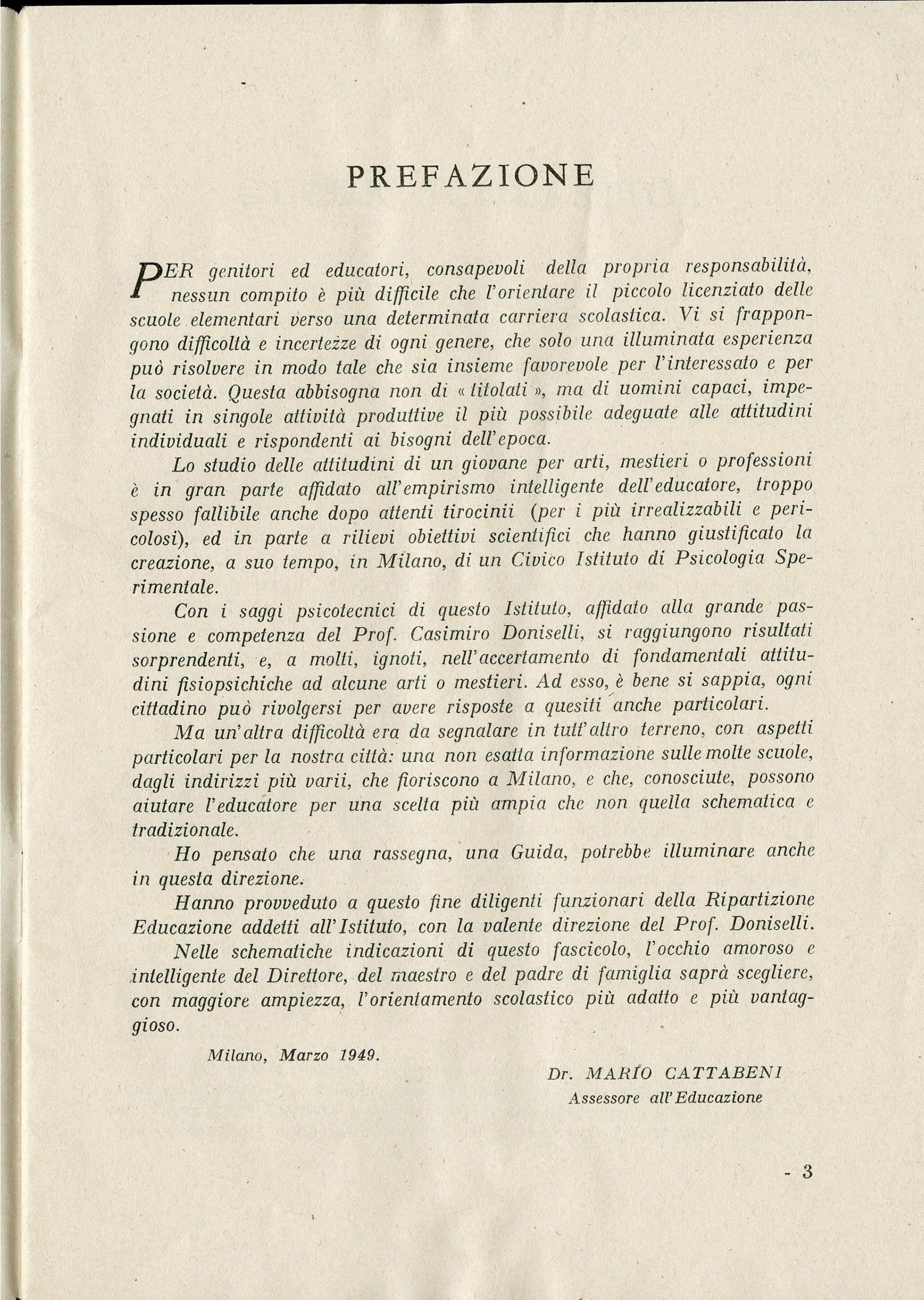 Comune di Milano, Guida scolastica, 1949-1950