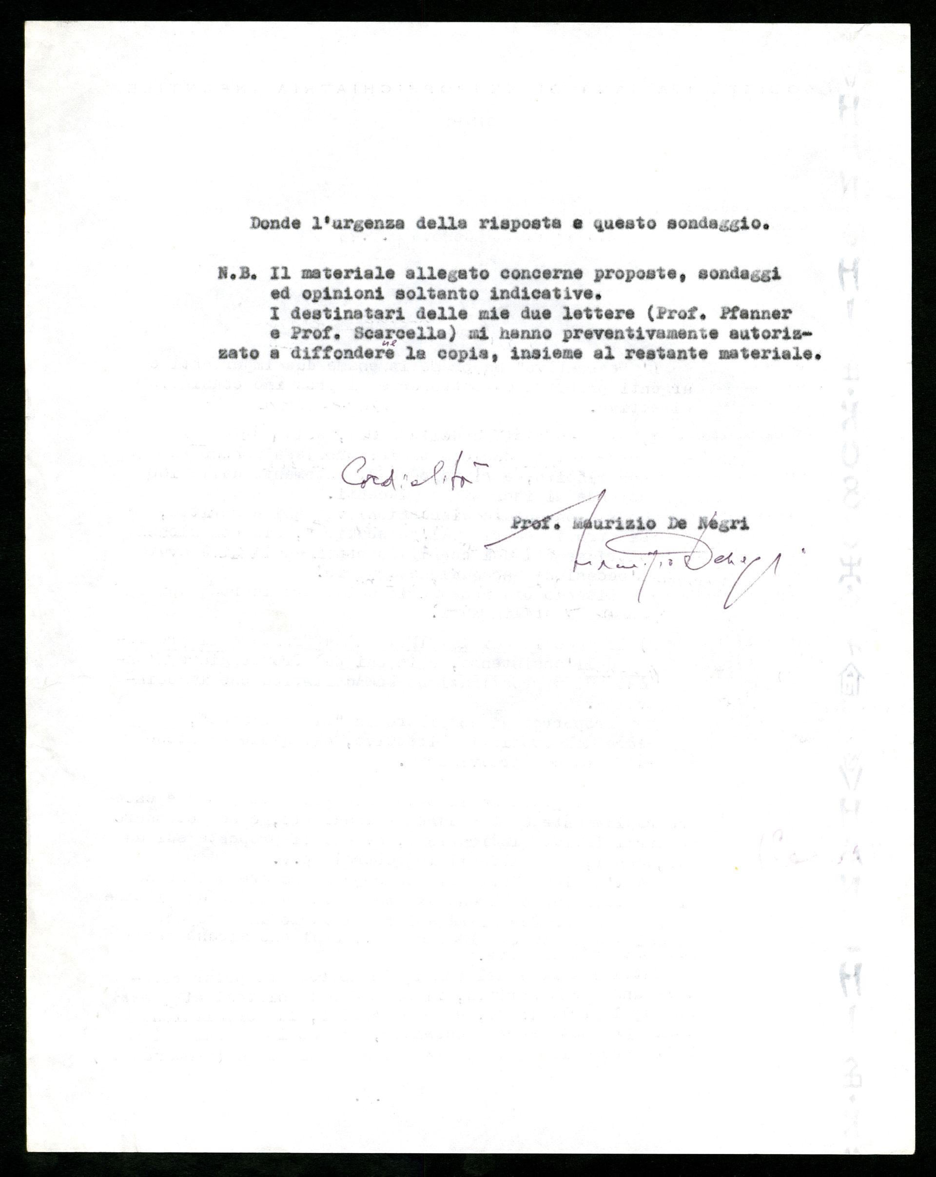 Lettera di De Negri, presidente della Società italiana di Neuropsichiatria infantile, a Berrini, 1973