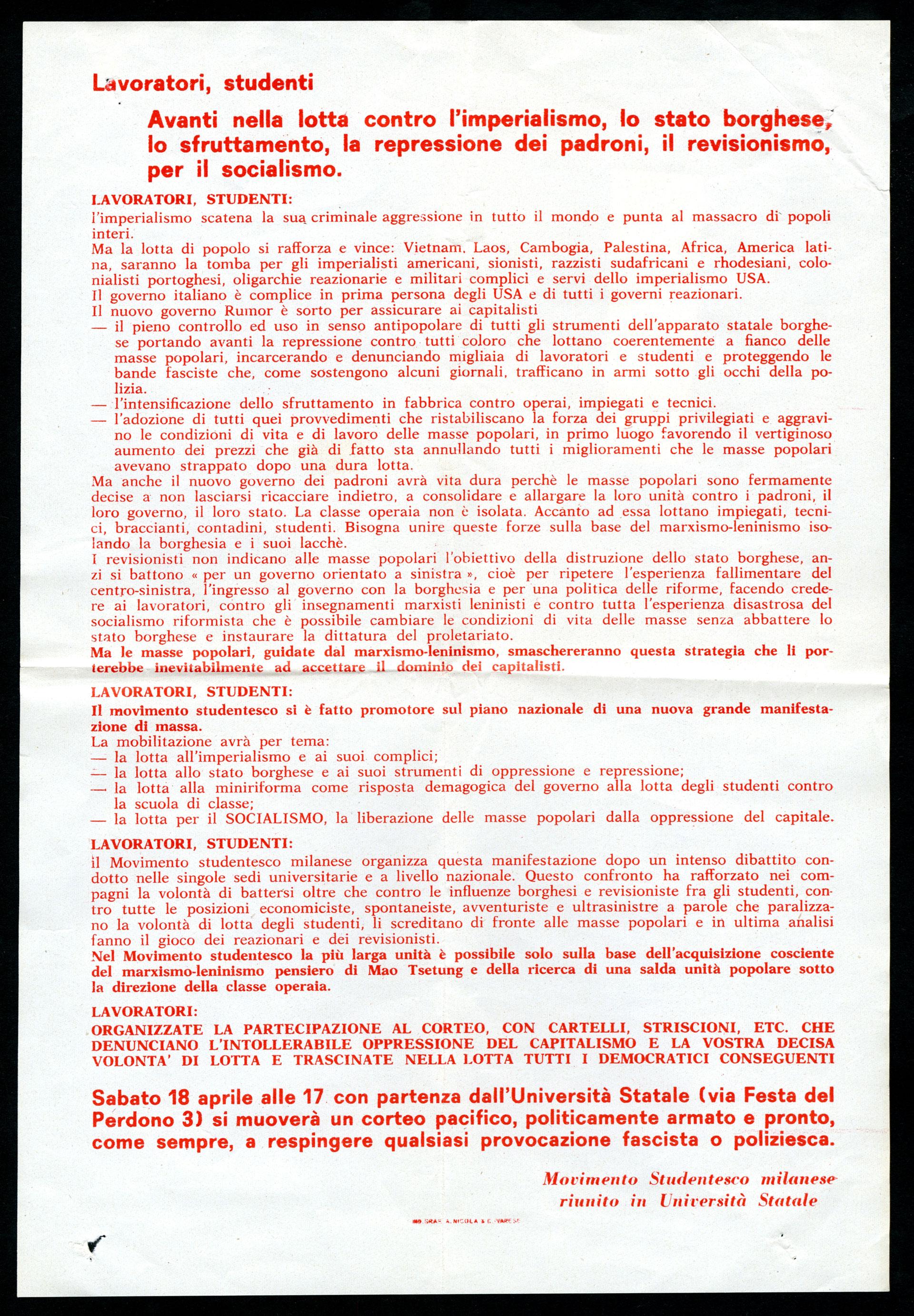 Volantino Movimento studentesco milanese, manifestazione 1970