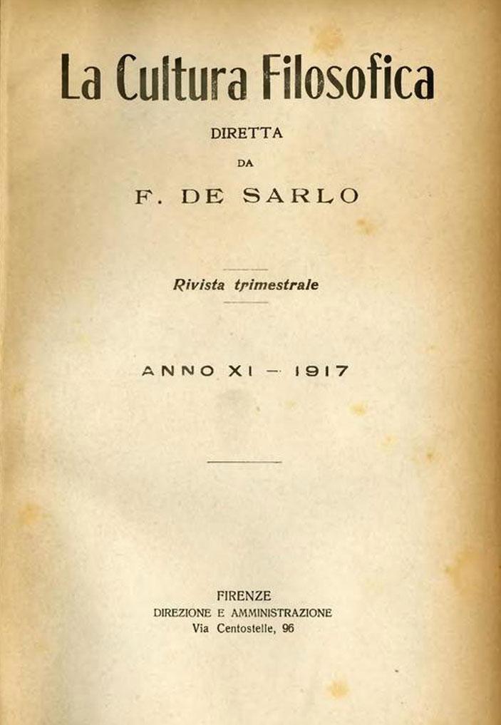 De Sarlo, La Cultura filosofica