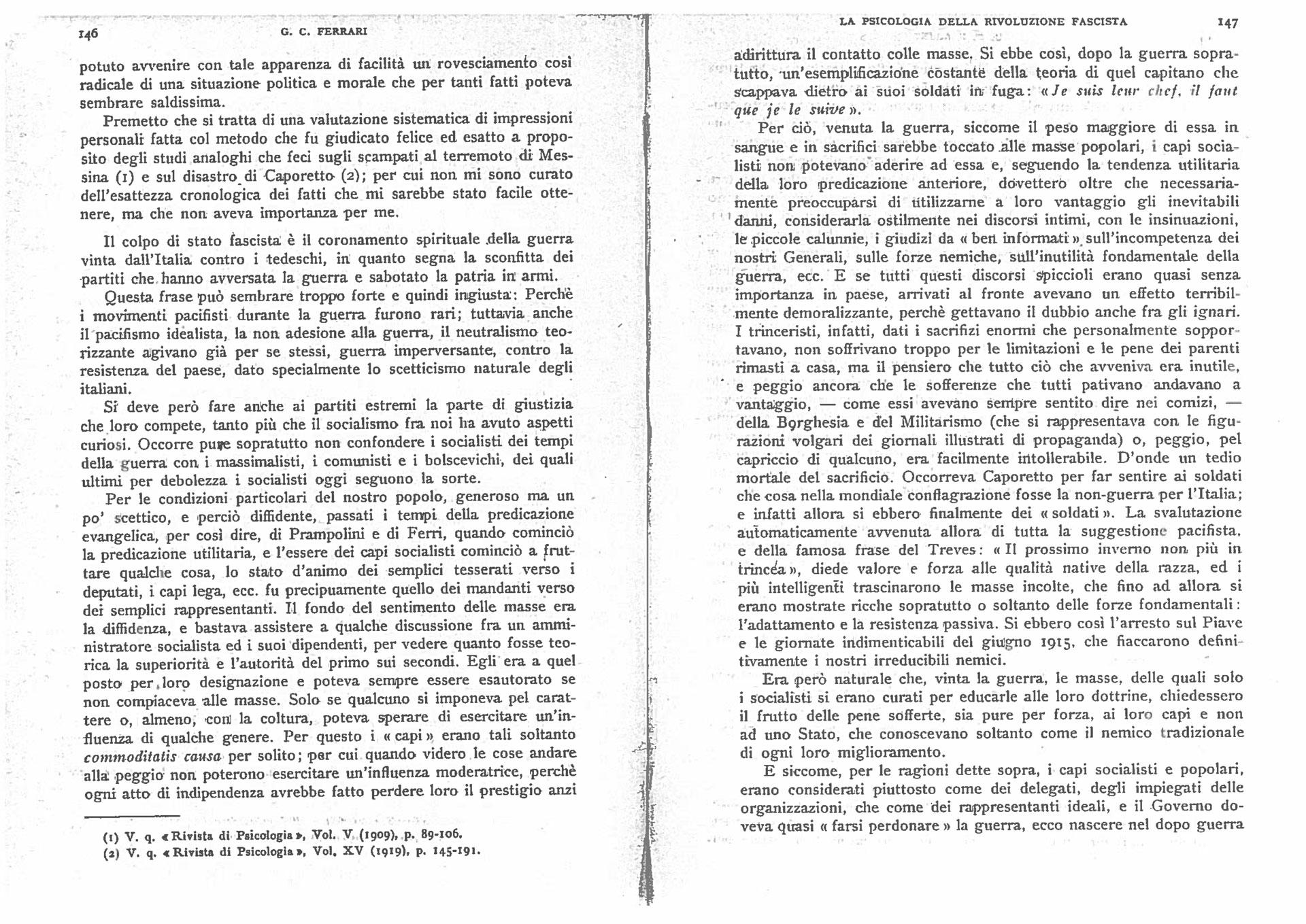G.C. Ferrari (1922). La psicologia della rivoluzione fascista. Rivista di psicologia