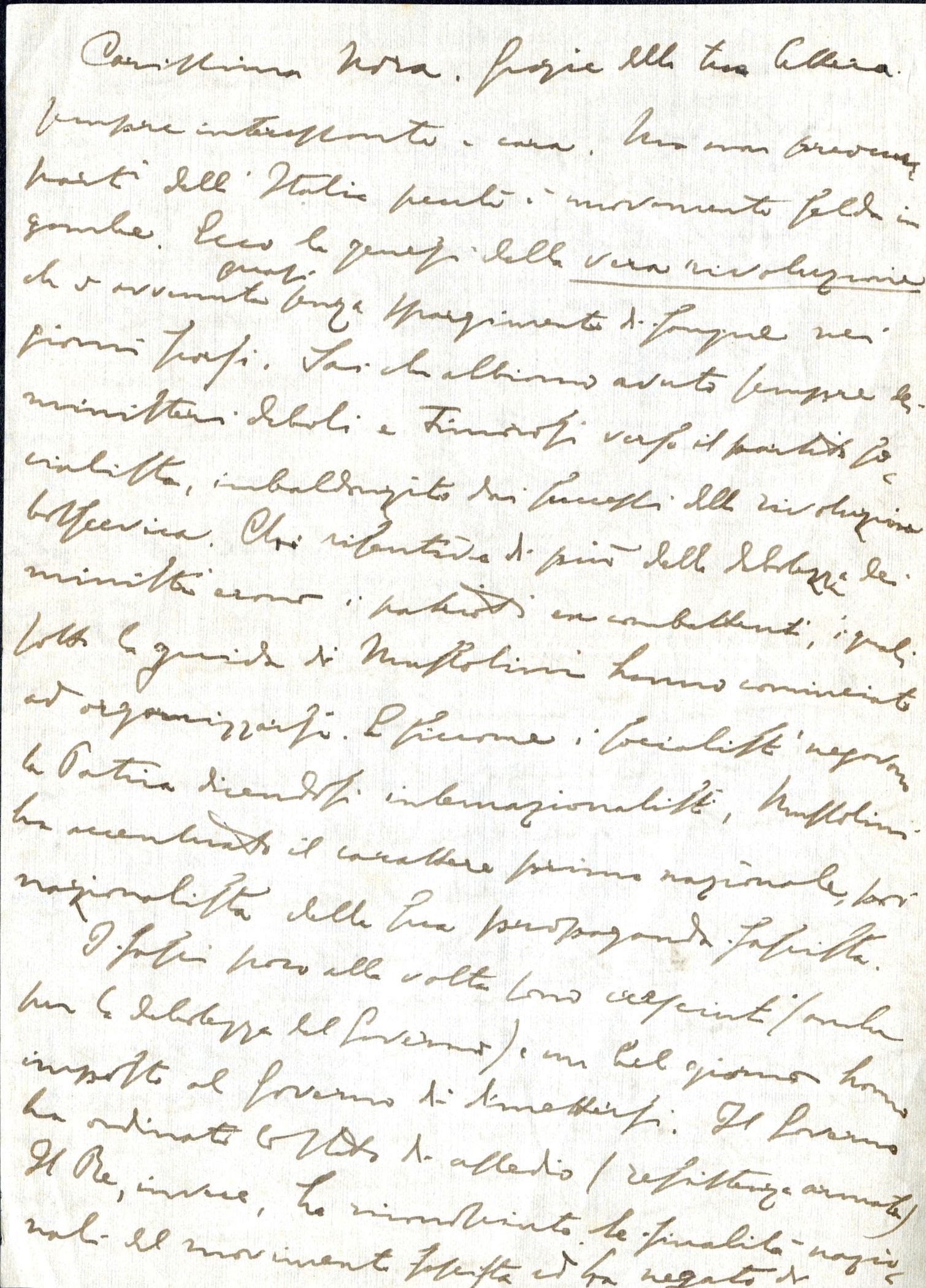 Lettera di Giulio Cesare Ferrari alla figlia Nora, ottobre-novembre 1922