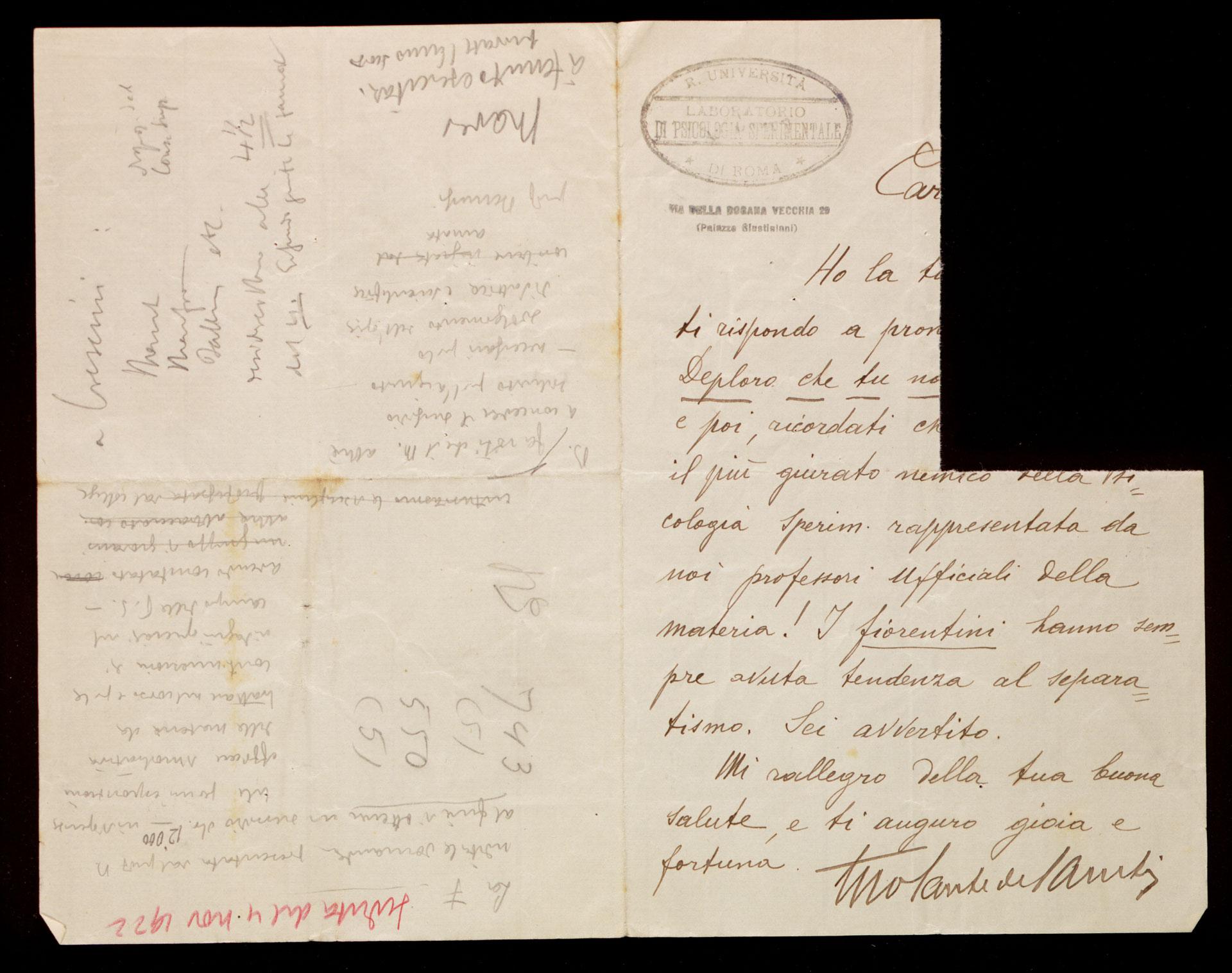 Lettera di Sante De Sanctis a Vittorio Benussi, posteriore al 1922