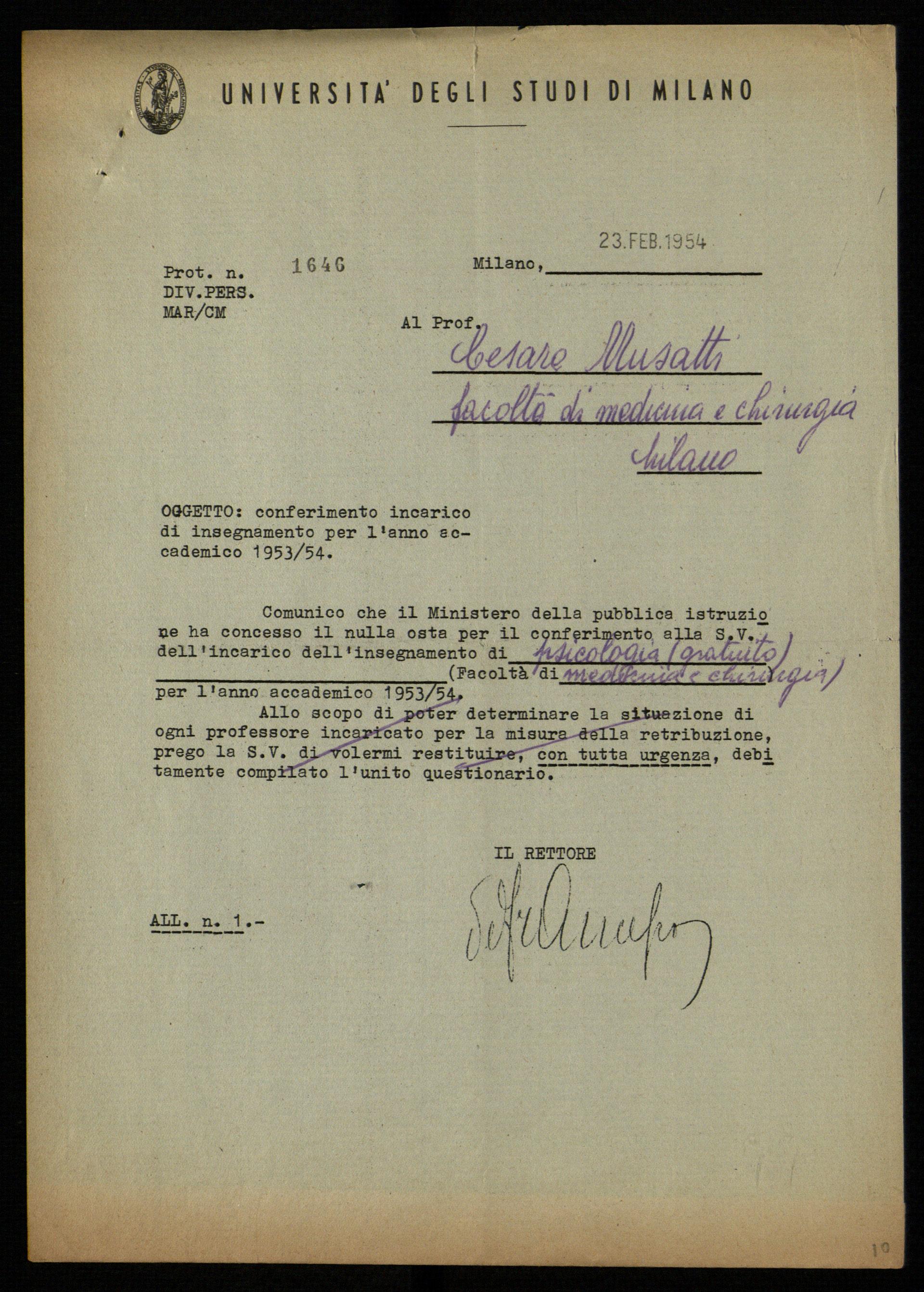 Avviso dell'Università di Milano a Cesare Musatti di conferimento dell'incarico di Psicologia, 1954