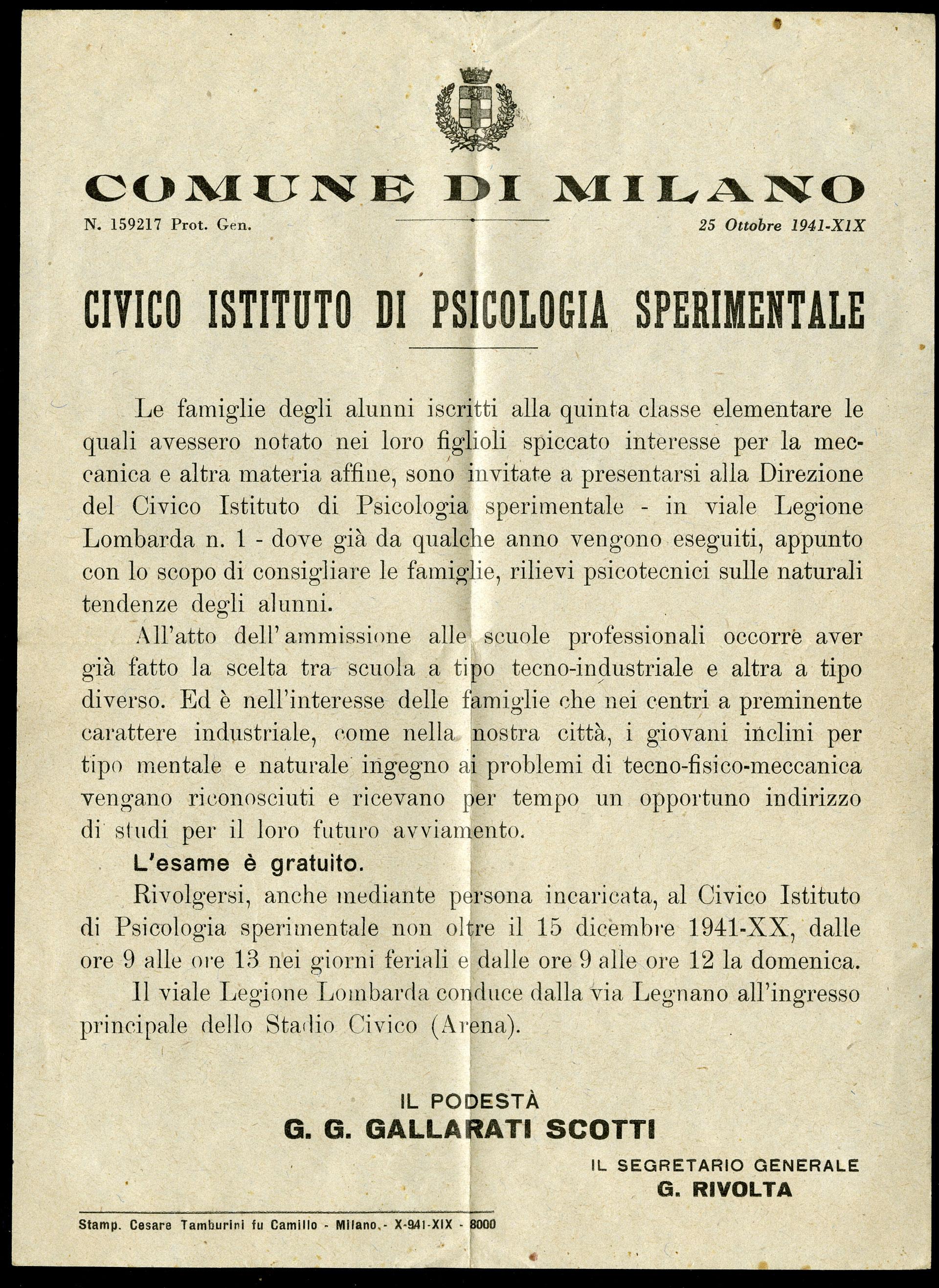 Circolare podestà di Milano