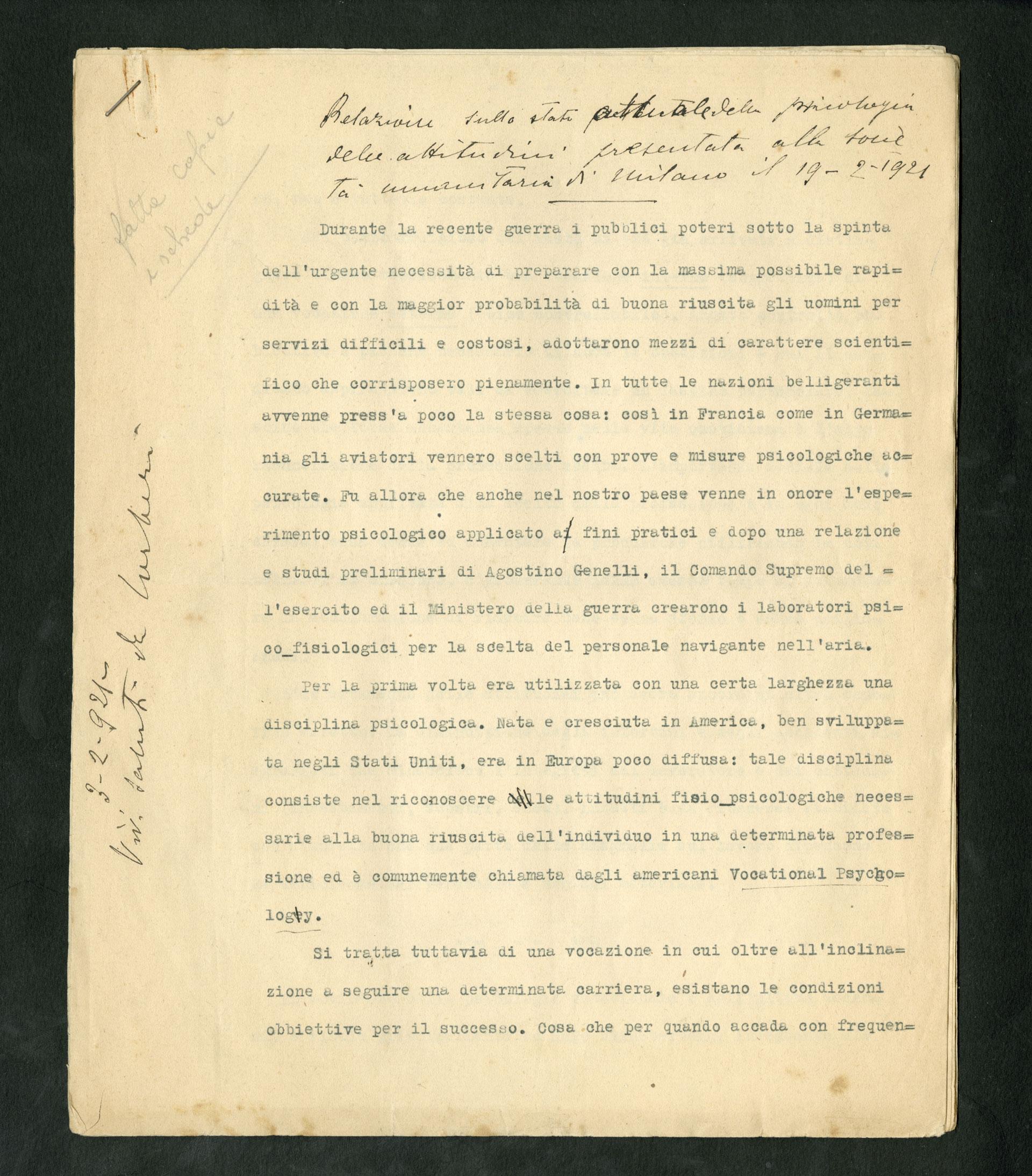 Relazione sullo stato attuale della psicologia delle attitudini, 1921, Giulio Cesare Ferrari e Giuseppe Corberi