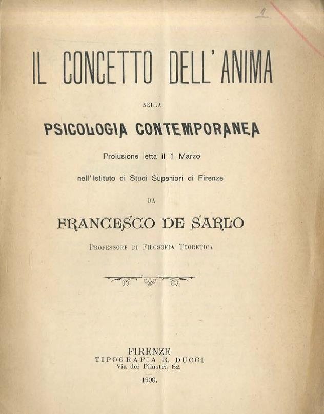 De Sarlo, Il concetto dell'anima nella psicologia contemporanea, 1900