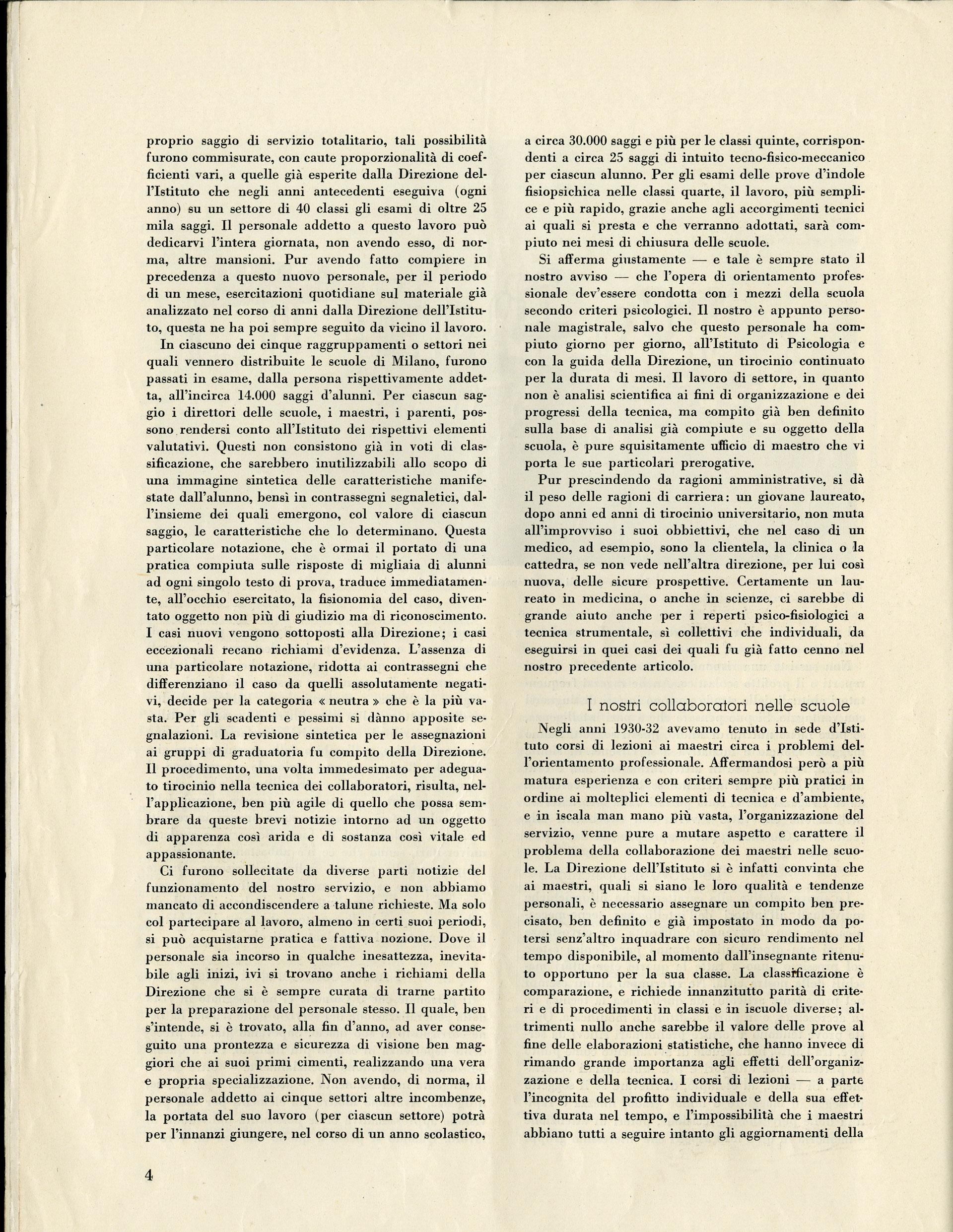 Casimiro Doniselli, Il Civico Istituto di Psicologia sperimentale e il servizio psicotecnico nelle scuole di Milano