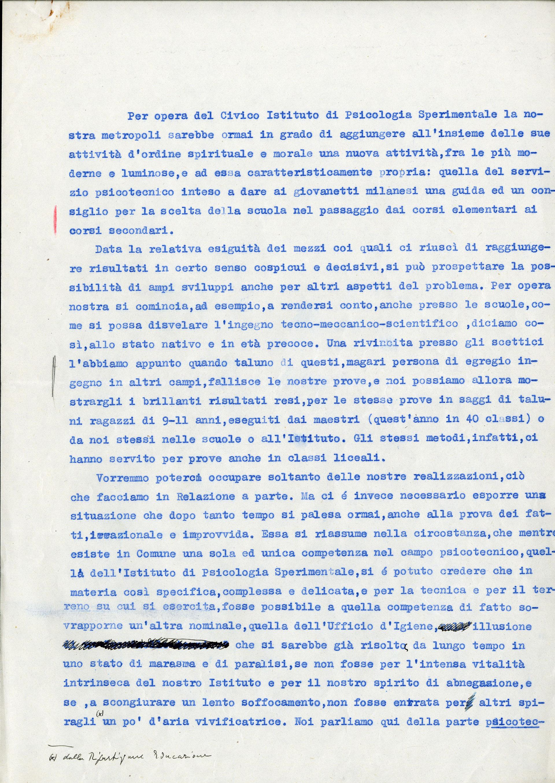 """Relazione di Casimiro Doniselli sui difficili rapporti tra il """"Civico Istituto di Psicologia Sperimentale"""" e l'Ufficio d'igiene del Comune di Milano, 1933"""