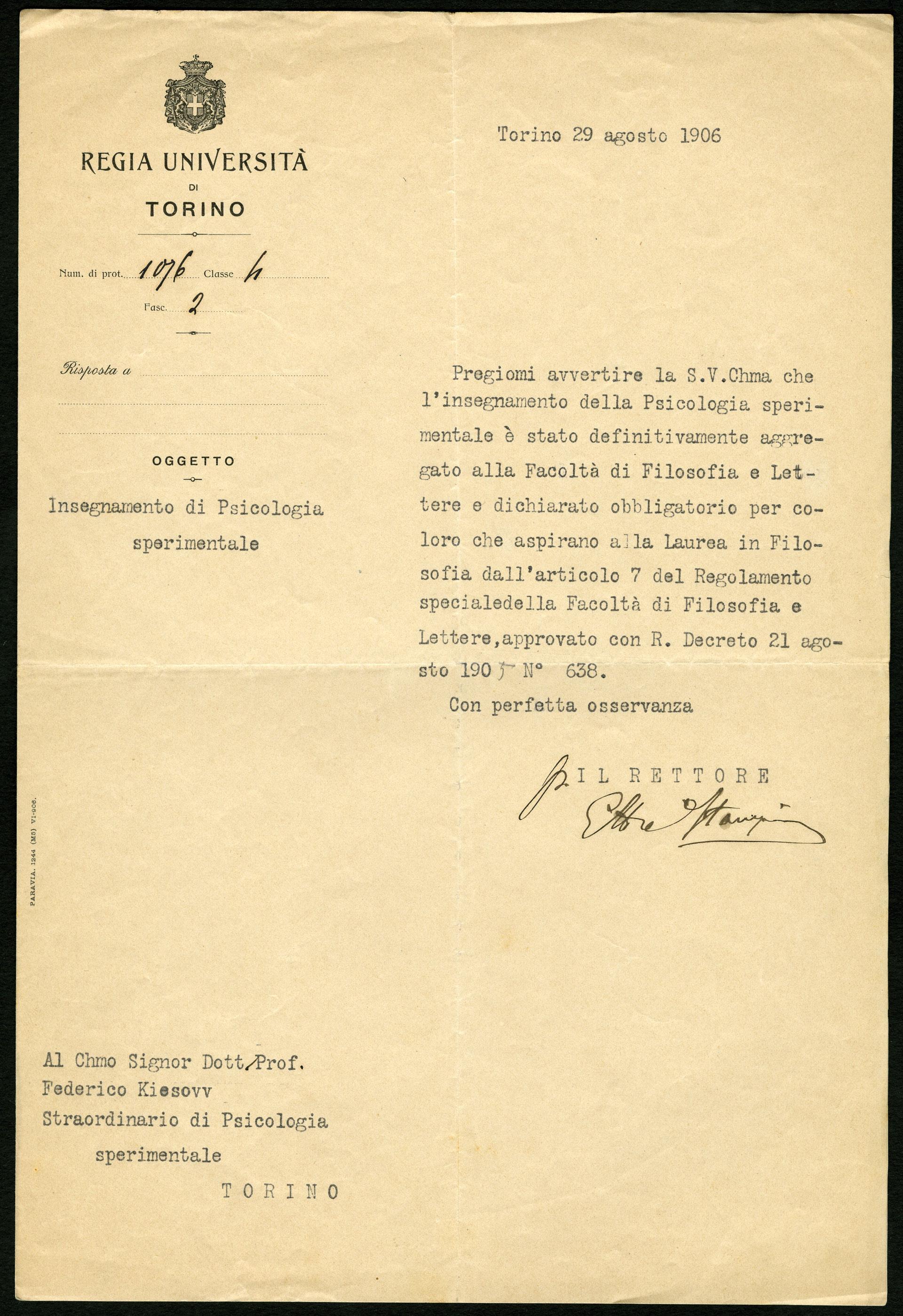 Comunicazione del rettore dell'Università di Torino a Federico Kiesow, 1906