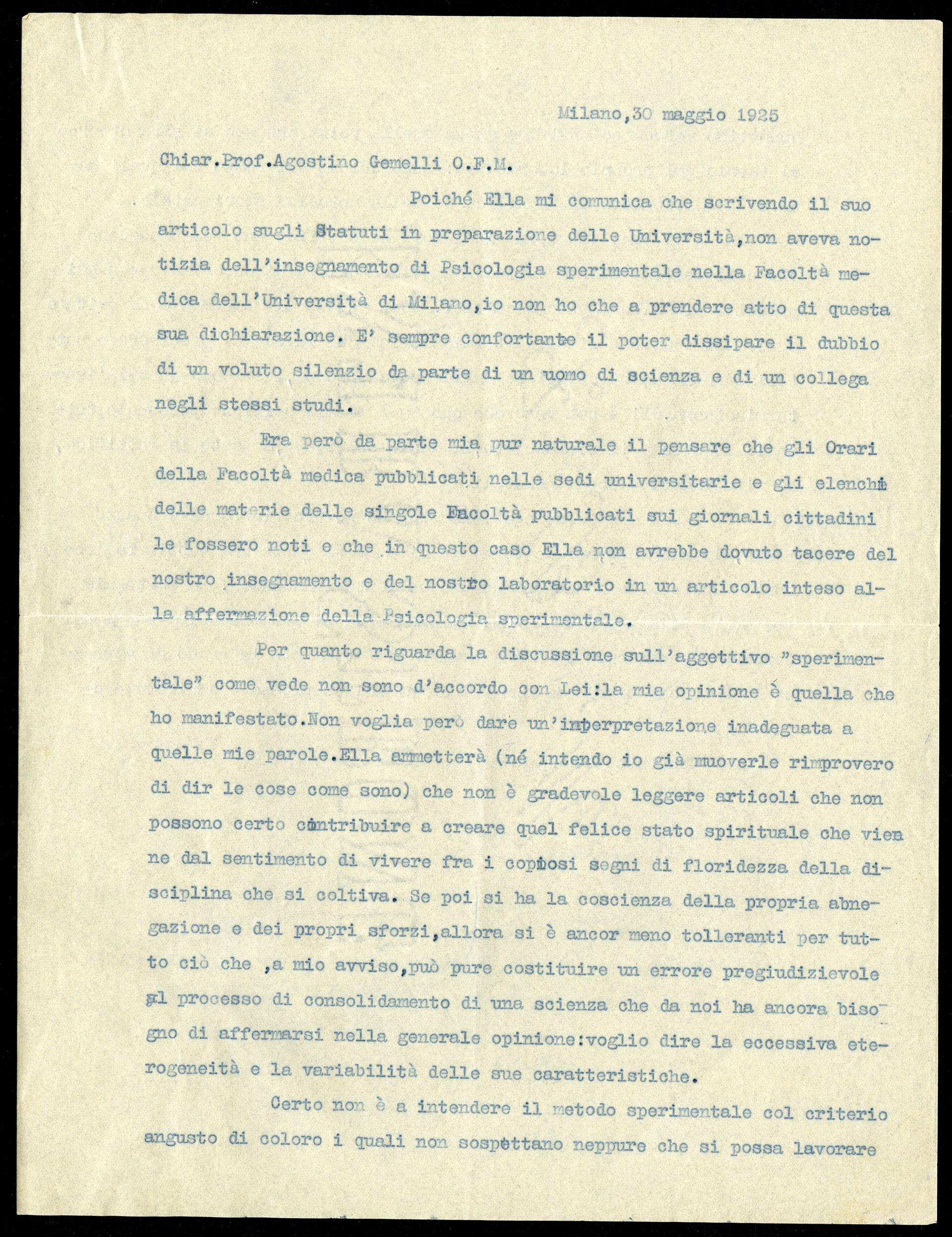 Lettera di Casimiro Doniselli a Agostino Gemelli, 30 maggio 1925
