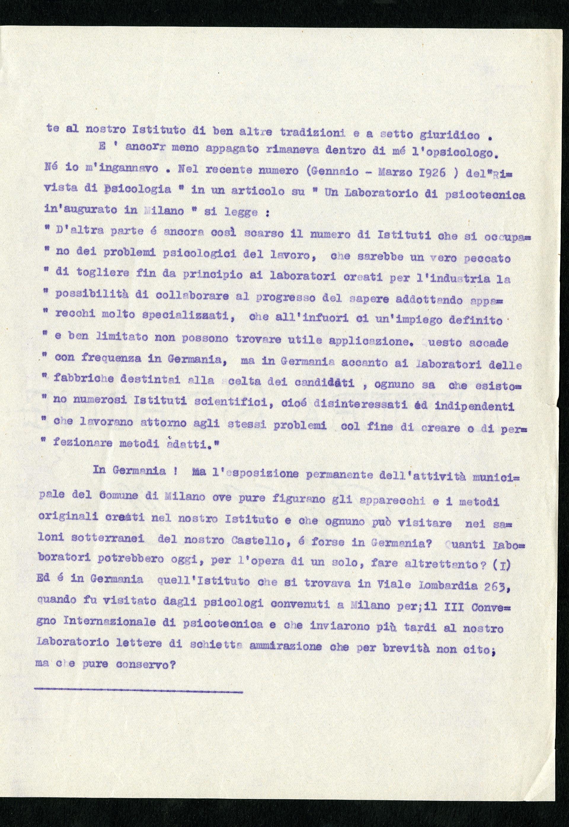 Relazione di Doniselli al sindaco di Milano a proposito del Laboratorio psicotecnico dell'ATM, 21 maggio 1926